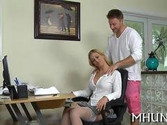 Blonde cougar secretary with gigantic tits gets plowed from behind