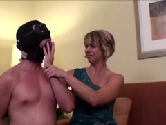 Chastised heel-worshipping slave teased and kept locked up