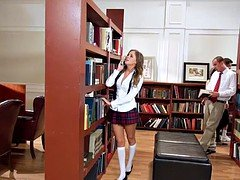 The gentle girl has a dirty sex in a college library
