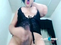Thick BBW Tranny Jerks and Plays With Cum
