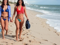 Beach babes go back to their hotel room for hot sex