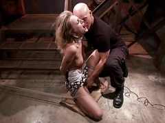 Hot Blonde in tight bondage and fucked!