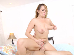 Hot chick cheats on her husband with his large son on the bed