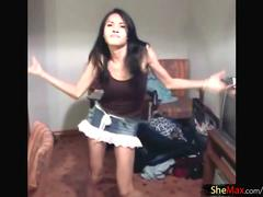 Hot shemale slut is dancing and teasing on a webcam