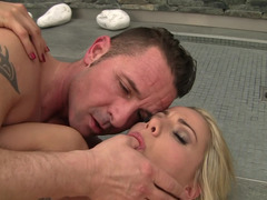 Hot blonde gets fucked and she screams loudly as that happens