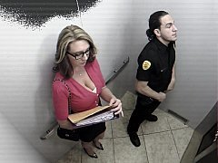 Busty office girl sucking security guard in elevator