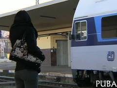Sexy brunette from Europe fucked in a city train POV