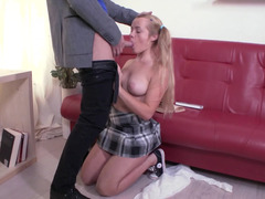 A blonde with pigtails shakes her tight ass and she gets anal