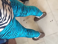 Mature woman in blue zebra leggings