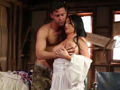 Lady with big natural boobs and swain make love in abandoned house