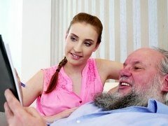 Young beauty seduced dirty pervert grandpa