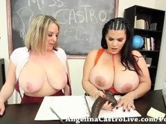 Teacher Angelina Castro teaches Maggie How to Titty Fuck!