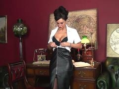 Hot breasty aged slut in sexy underwear stripping down in her office teasing on online camera and besides wanking