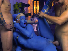 A sexy blue girl is fucked in a hot threesome by her man