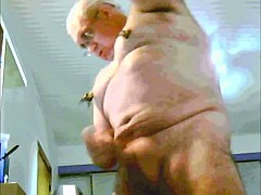 Grandpa playing and cum on cam