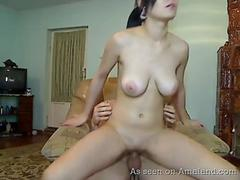 Latin GF with big tits rides cock