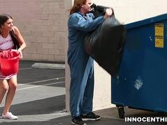 InnocentHigh - Skinny Cheerleader Tied Up and Fucked By Janitor
