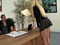 Lucky manager licking his milf boss in the office