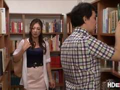 Japanese college babes Chika and Minori gets fuck hard in the library