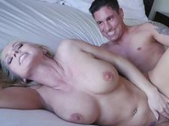 This rotund blonde breasty soccer mom taking care of her lover and getting fucked in diverse poses