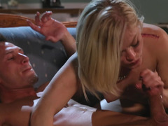 A blonde is with a guy and the small tits vixen is filled with lust