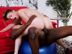 Skinny coach rides big cock of her Ebony client