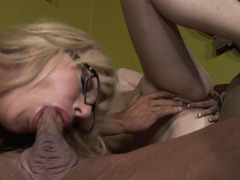 Blonde coed learns to suck dick from mommy