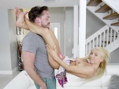 Fragile blonde has fun with the huge cock of her friend