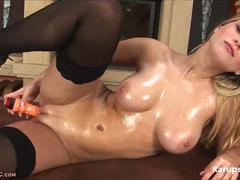 Busty Mirra In Stockings With A Toy