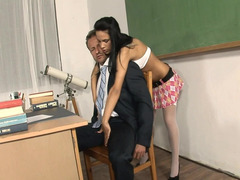 Hot all natural Latina loses her clothes in the classroom