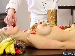 Food smeared bisex babe
