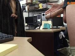 Small tits babe railed by nasty pawn guy in the backroom