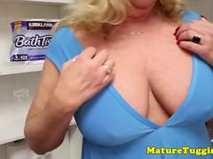 Busty stepmom jerking and titfucking pov guy