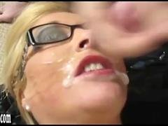 Horny blonde sluts get absolutely drenched in spunk facial showers