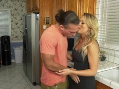 Bored blonde lady is happy to have fun with younger partner