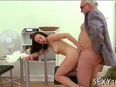 Stupid young slut has sex with a grandpa