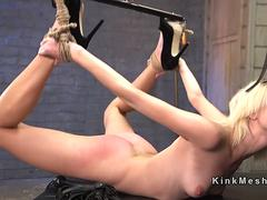 Rough fuck slave training for blonde in ropes