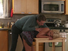 Lovers start sex action in the kitchen and continue in living room