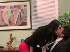 Lusty office fucking with a naughty babe in ripped pantyhose