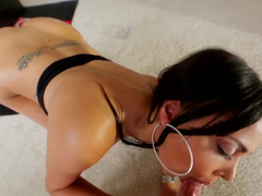 A petite lady with long hair is getting cum in her mouth here