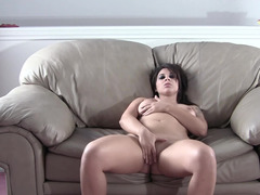 Curvy first timer with sexy tattoos strips and masturbates