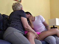 Granny fucked by lucky boy and his GF