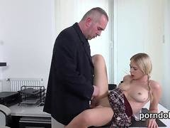 Cuddly college girl is teased and drilled by her elderly instructor