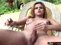 nice transvestite stroking her with fruit juice lstick outdoors