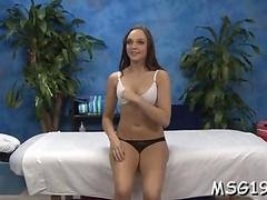 Brunette little sluts shows her boobies and sucks a dick