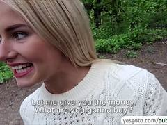 Gorgeous blonde Aisha considers fucking outdoors for money
