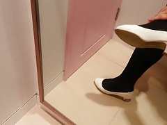 White Patent Pumps with Black Pantyhose Teaser 23