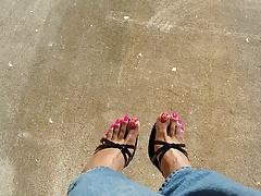 Neon Pink Toes in Heels