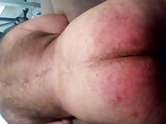 Getting spanked on my fat hairy ass