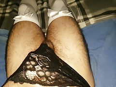 Hairy arab guy cums in black lace panties